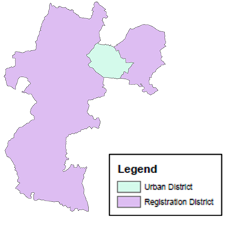 Figure 1 The Urban Sanitary District of Wolverhampton and the Census Registration District in which it was located, 1911